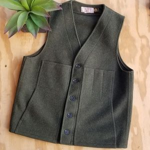 Filson Forrest Green Mackinaw Button Up Wool Vest